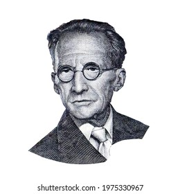 World famous physicist Erwin Schrödinger black and white portrait close up isolated on white background. Fragment of austrian banknote