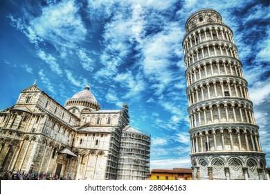 world famous Piazza dei Miracoli in Pisa, Italy