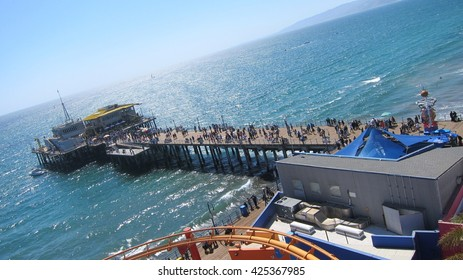 The world famous Santa Monica Pier on the Pacific Ocean in  California
