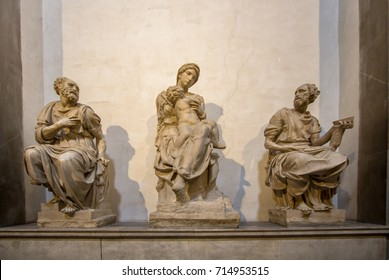 World famous Tomb of Lorenzo the Magnificent and his brother Giuliano and Michelangelo's,  'Madonna and Child' in Medici Chapel, Florence, Italy