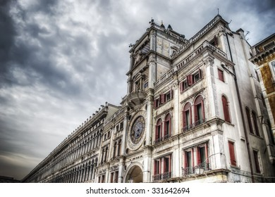 world famous Torre dell'Orologio in Venice, Italy