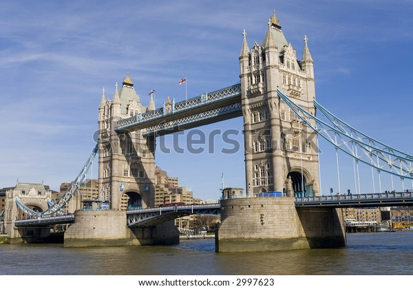 The world famous Tower Bridge spans the River Thames in London, England