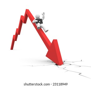 World financial crisis. Businessman falls. Business in action, concept. Isolated on white