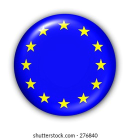 World Flag Button Series - European Union (With Clipping Path)