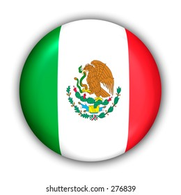 World Flag Button Series - North America - Mexico (With Clipping Path)