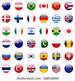World flags collection. 36 high quality clean round icons. Correct color scheme.