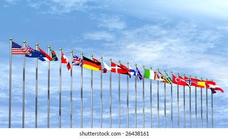 World Flags on a Sky Background