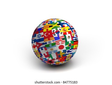 World flags puzzle ball
