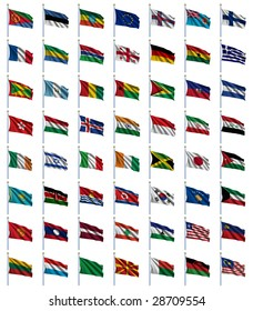 World Flags Set 2 of 4 - E to M - set of flags in alphabetical order from Eritrea to Malaysia