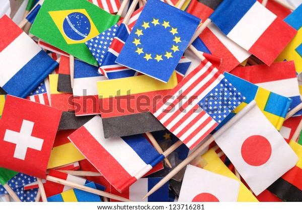 Weltflaggen, kleine Flaggen verschiedener Länder