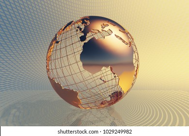 World global business design with abstract hi-tech golden metal background (3D render)