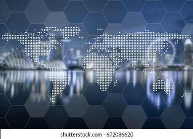 World global cartography globalization with hexagon on blue tone aerial view of cityscape business district background