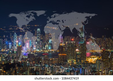 World Global Network Cartography Globalization with Hong Kong Cityscape in Business district with high building at night