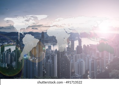 World Global Network Cartography Globalization with Hong Kong city background