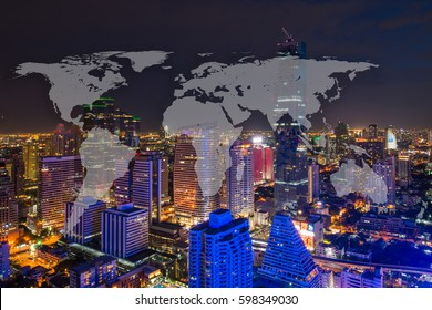 World Global Network Cartography Globalization with Bangkok Cityscape in Business district with high building at night