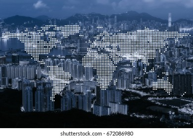 World global network cartography globalization with blue tone aerial view of Hong Kong modern buildings and  condominium in Hong Kong city downtown.