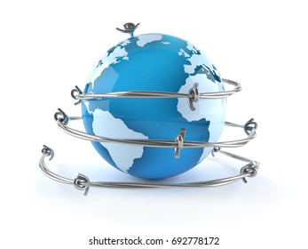 World globe with barbed wire isolated on white background. 3d illustration