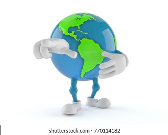 World globe character isolated on white background. 3d illustration