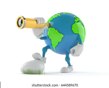 World globe character looking through a telescope isolated on white background. 3d illustration