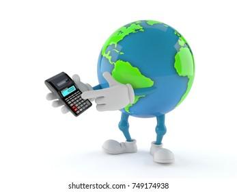 World globe character using calculator isolated on white background. 3d illustration