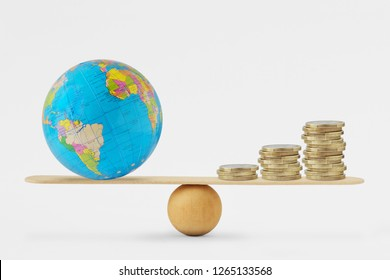 World globe and coins stack on balance scale - Concept of balance between planetary health and economic growth