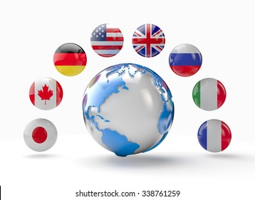 world globe with flags of G8 countries, sphere 3d rendering