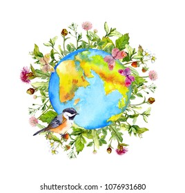 World globe, flowers, wild grass, green leaves, butterflies and bird. Watercolor for Environment day - Earth, plants, animals