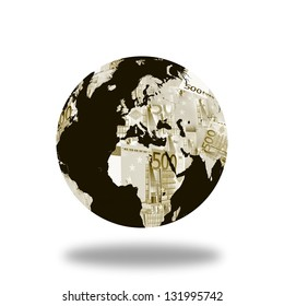 World globe map made with euro. Derived from NASA image.