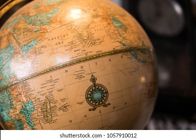World Globe Map showing the Indian peninsula. illustrative editorial