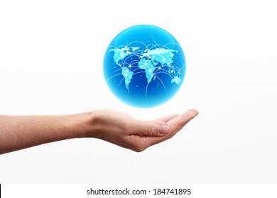 World globe on hand