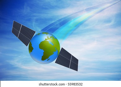 World globe with solar panels against nice cloudy sky