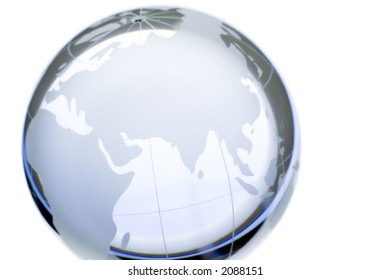 World globe:continents over transparent glass, isolated. Europe, Asia and Africa. More available.