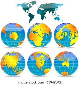 world globes against white background, abstract art illustration; for vector format please visit my gallery