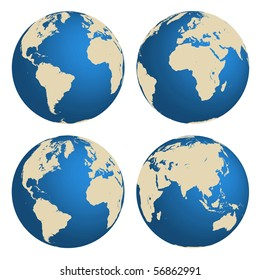 World globes vector concept