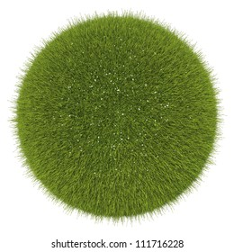 World of grass and flowers: green globe isolated on white
