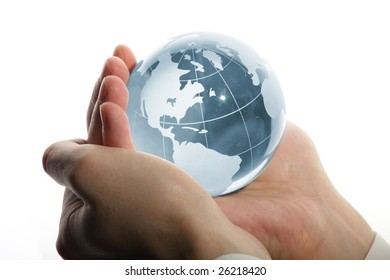 world in hand and global internet and business
