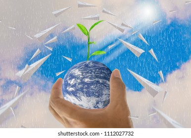 World, in a handful, paper plane, trees growing on top, With bright sky background, Abstract concept about global warming worldwide, Elements of this image furnished by NASA. (Photo manipulation)