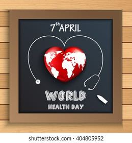 World health day concept with globe inside heart on blackboard on wooden table