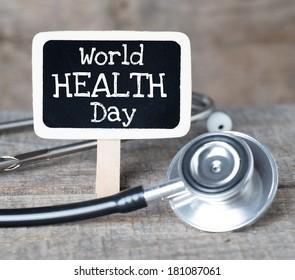 World health day concept handwriten on blackboard