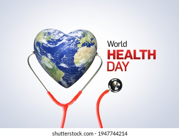 World Health Day concept. Heart and stethoscope design for health day. Global health care and Coronavirus  concept. World Day for Safety and Health at Work. - Shutterstock ID 1947744214