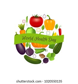 World health day concept with vegetables . Advertisement of  healty lifestyle and vegan food. People healthcare.