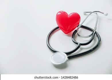 World health day.Red heart with stethoscope on white background, heart health,world health day.
