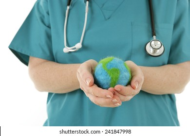 World Health - Nurse holding a felted globe