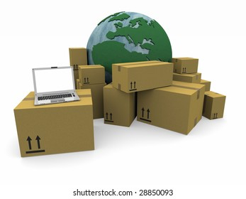 The world with a heap of packages and a laptop