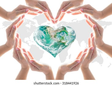 World heart health day concept with collaborative hands protection in heart shape: Elements of this image furnished by NASA
