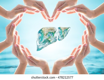 World Hepatitis C Day design logo concept with Liver organ in heart hands protection. Element of the image furnished by NASA