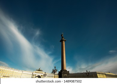 World heritage concept. Beautiful view at facade of General Staff Building and Alexandrian (Alexander) Column at Palace Square in Saint Petersburg. Sunny cloudy weather. Text space. Outdoor shot