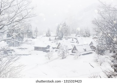 The world heritage Gassho houses style , Ainokura village Japan with heavy snowfall during winter season