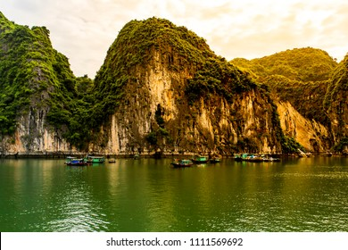The World Heritage seascape of Halong Bay dotted with jagged limestone pinnacles is one of Vietnam's biggest attractions.