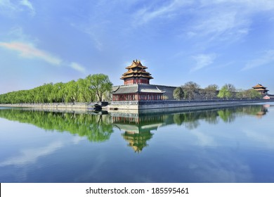 World Heritage Site Beijing Forbidden City reflected in its canal.